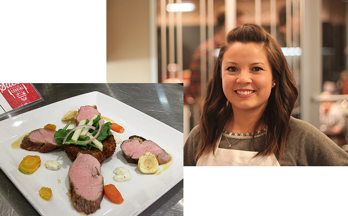 Entree Round Winner Annie Hall and her sous vide pork tenderloin