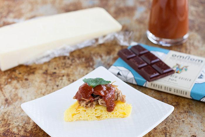 Omnom Chocolate BBQ Pulled Pork with Sartori Cheese Corn Cake
