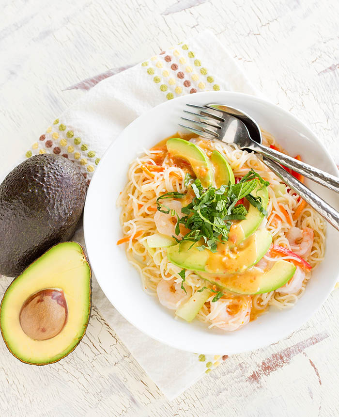 California Avocado Spring Roll Noodle Salad from @fujimama