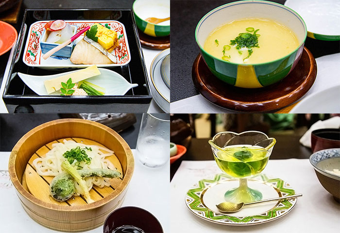 Many dishes of kaiseki meal in Ikaho Japan