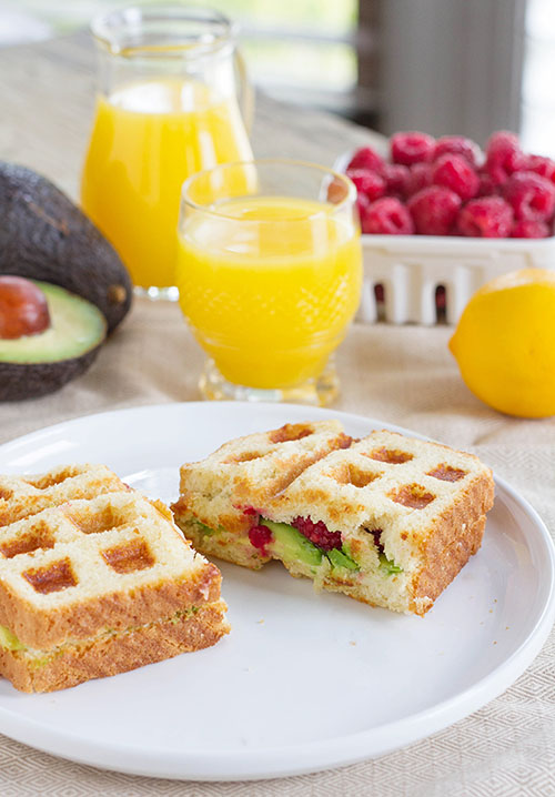 Waffled Avocado Berry Toast