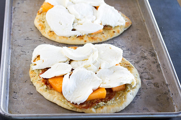 Cantaloupe Calabrese Naan Pizzas ready to go into the oven