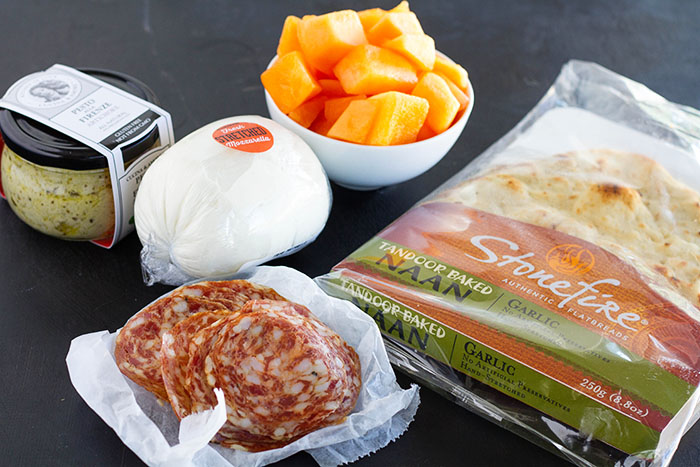 Ingredients for Cantaloupe Calabrese Naan Pizza