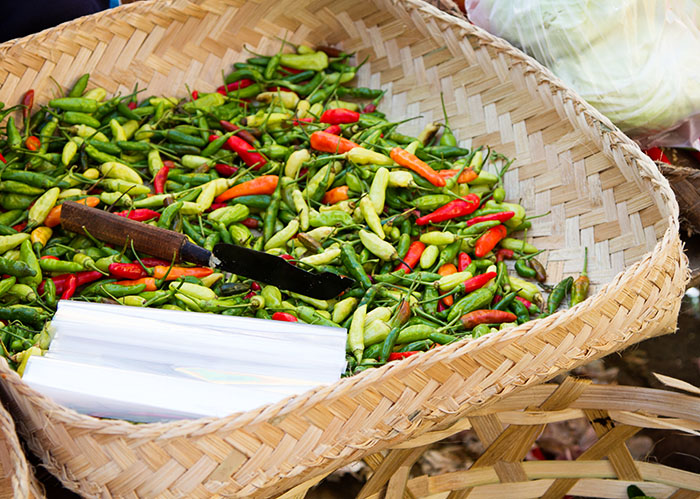 Chilies at a market in Bali