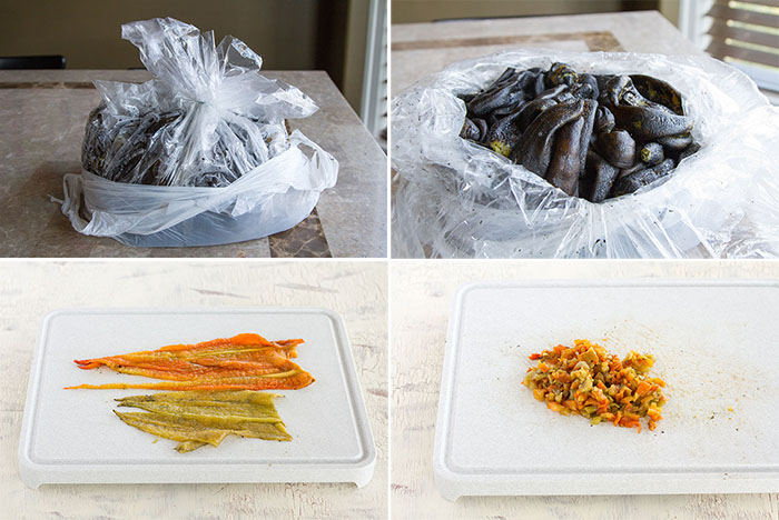 Prepping roasted Hatch chiles