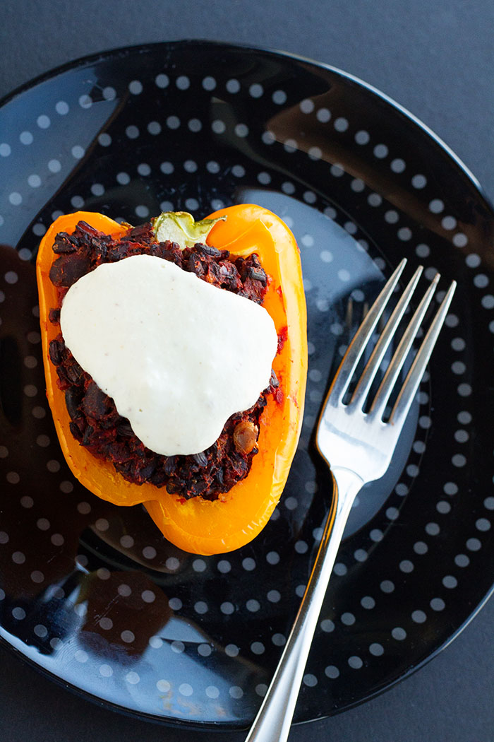 Black Rice Stuffed Pepper with Cashew Cream Sauce