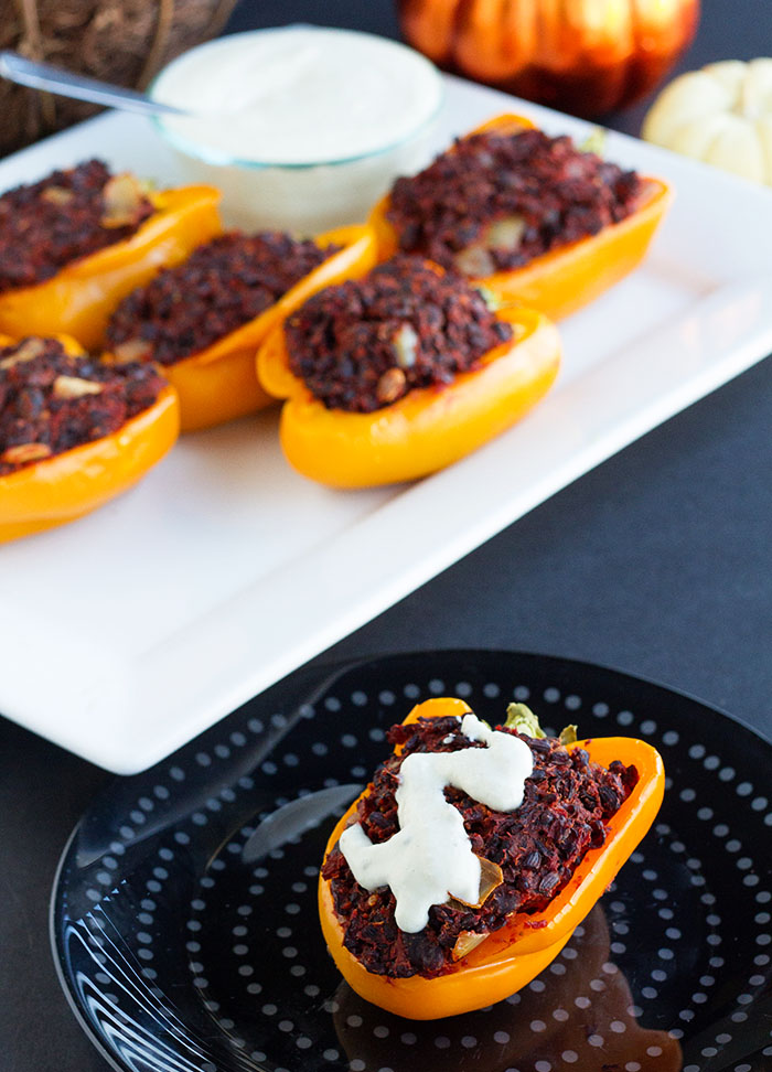 Black Rice Stuffed Peppers with Cashew Cream Sauce