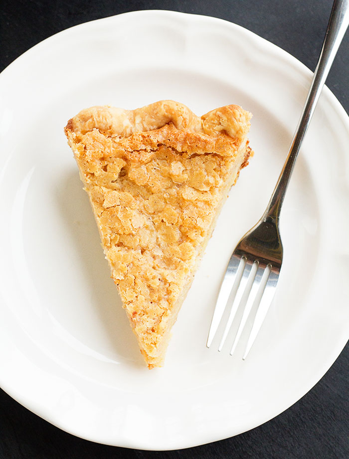 Slice of Almond Crackle Custard Pie