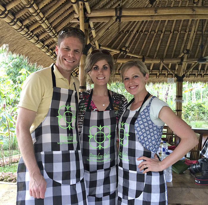 With Mr. Fuji and my sister-in-law at the Pemulan Bali Balinese Farm Cooking School