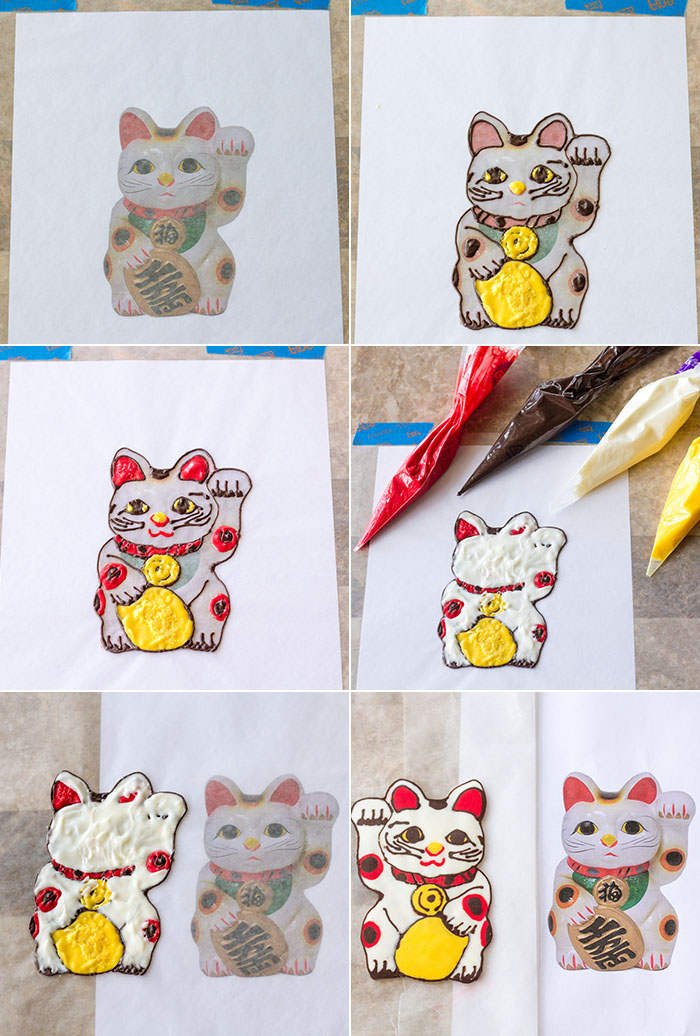 Making a maneki-neko cheesecake topper