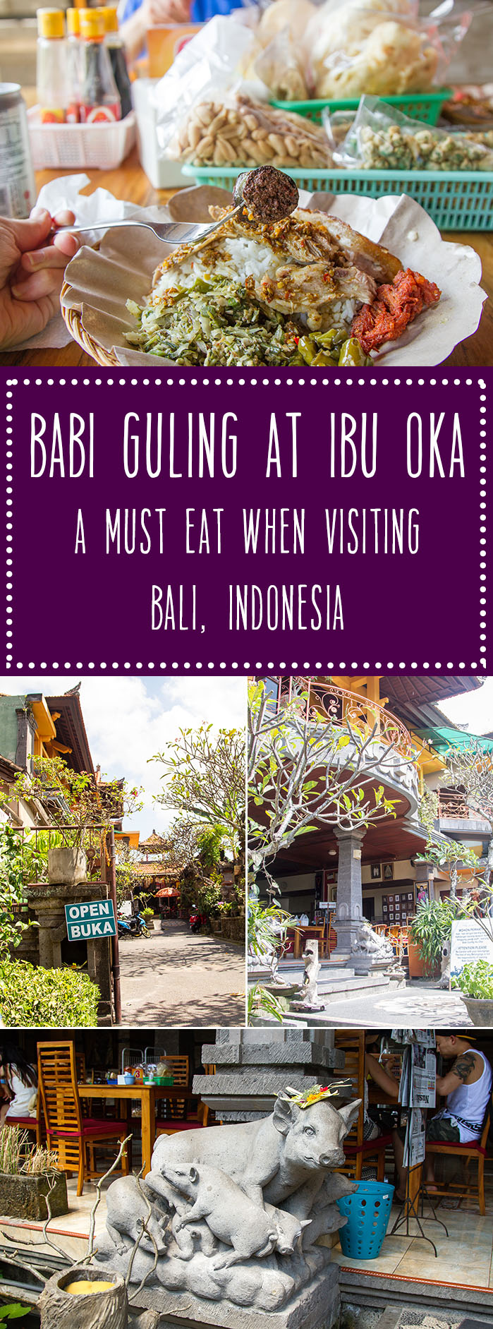 Eating babi guling (Balinese roast suckling pig) at Ibu Oka is a must do when traveling to Bali, Indonesia.  It is the most delicious roasted pork you will ever eat!