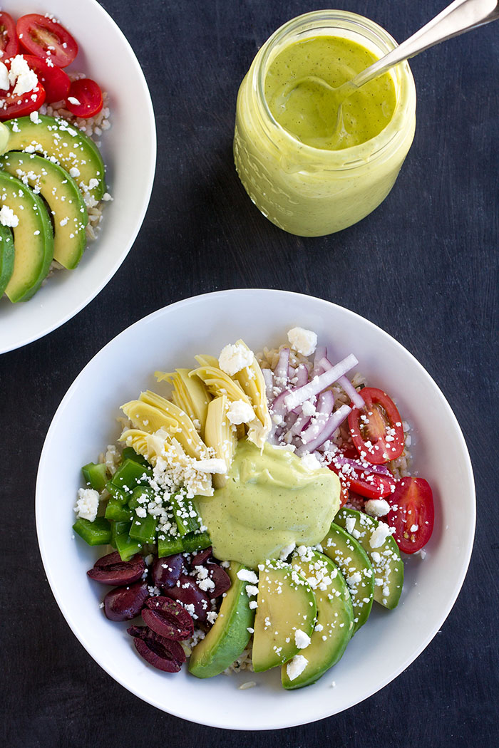 California Avocado Greek Rice Salad Bowls