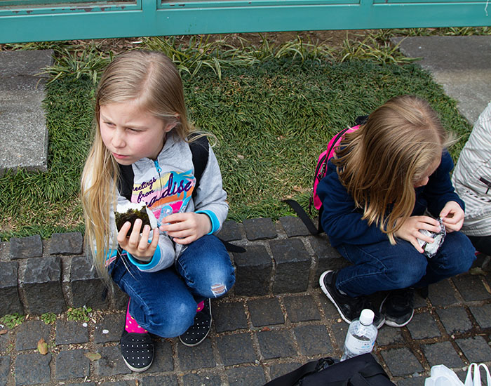 Eating onigiri in the park