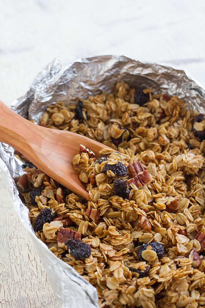War granola baked in a foil packet