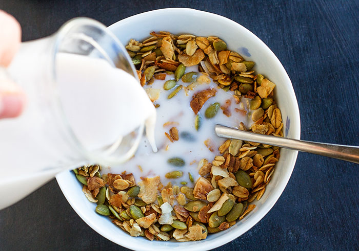 Road Trip Granola with almond milk
