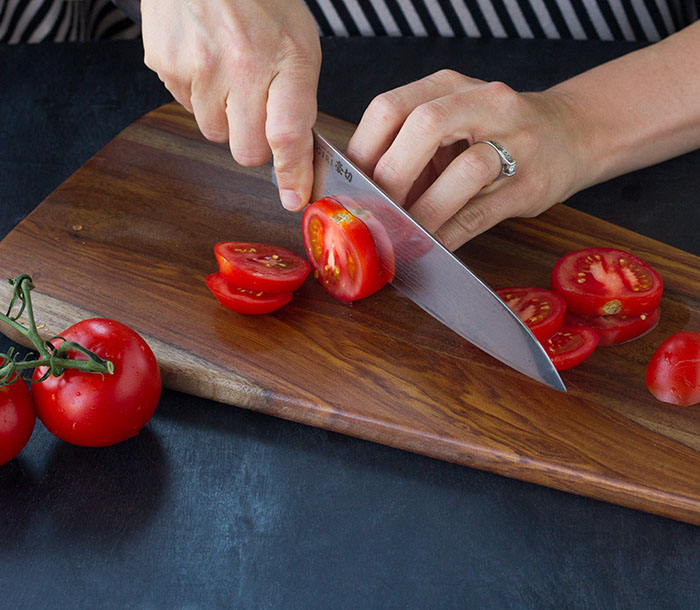 A good chef's knife is key to cutting things like tomatoes