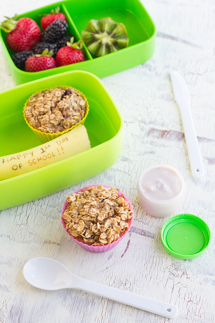 Breakfast for Lunch Bento with Baked Granola Oatmeal Cups