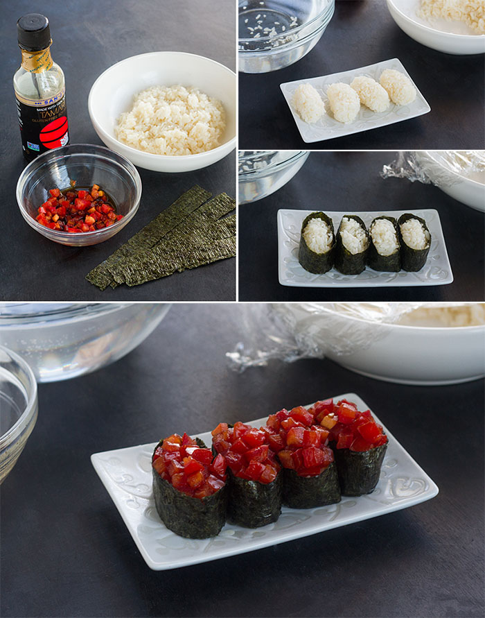 Making Fresh Tomato Gunkan-maki