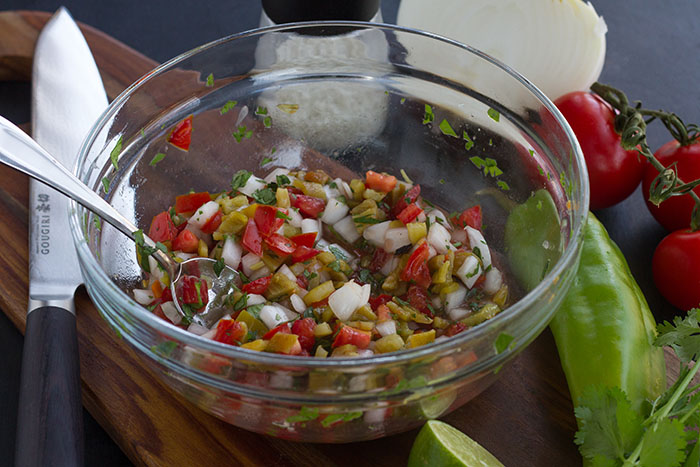 Making Roasted Hatch Chile Pico de Gallo
