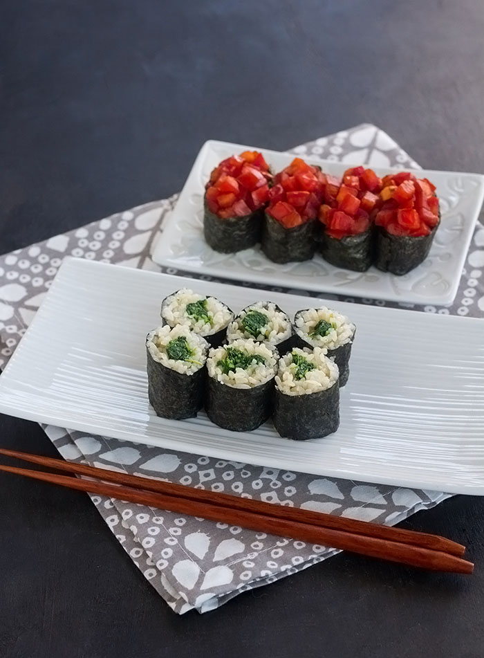 Marmalade Watercress Maki-zushi and Fresh Tomato Gunkan-maki