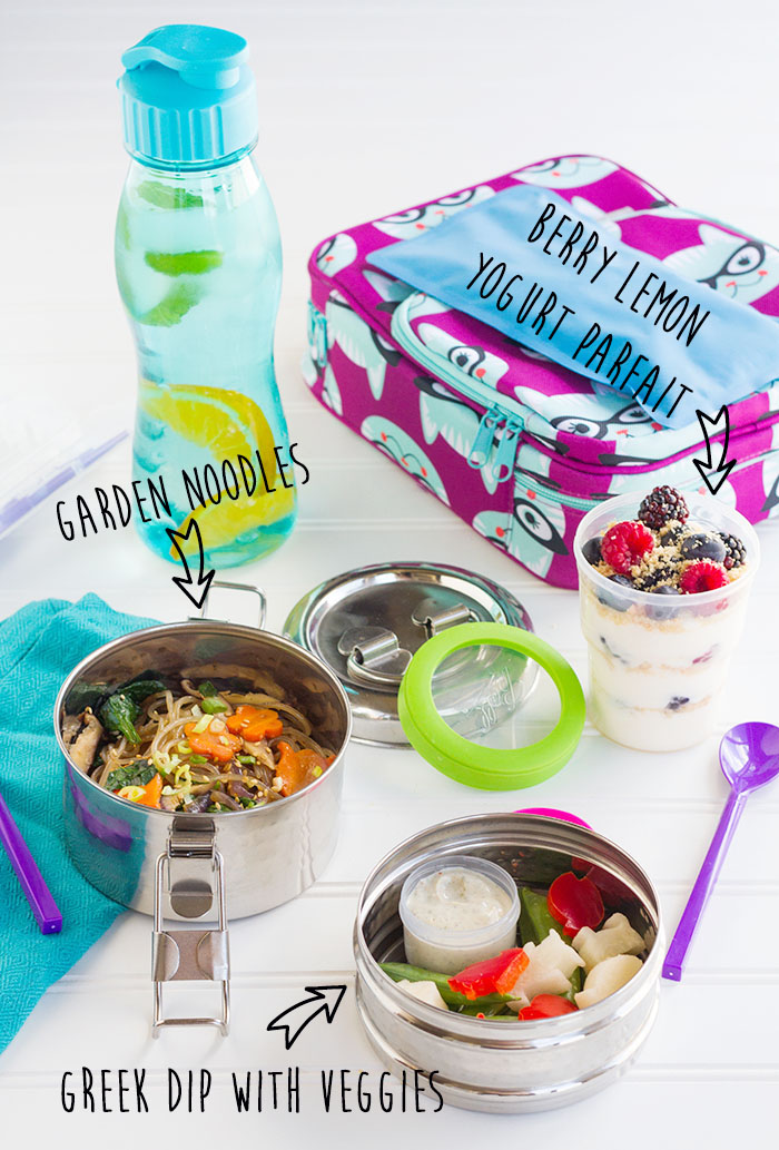 Garden Noodles, Greek Dip, Berry Lemon Yogurt Parfait, and Fruit Water Bento
