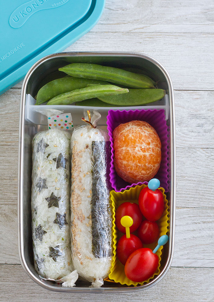 Bento with two stick onigiri