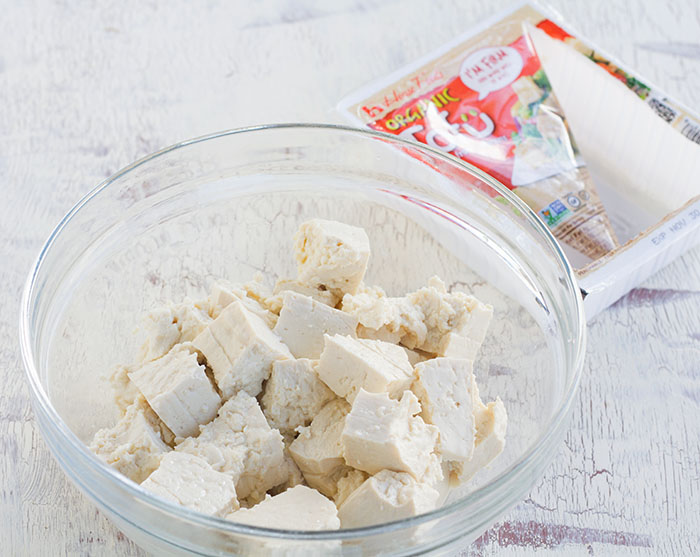 Tear tofu into large chunks