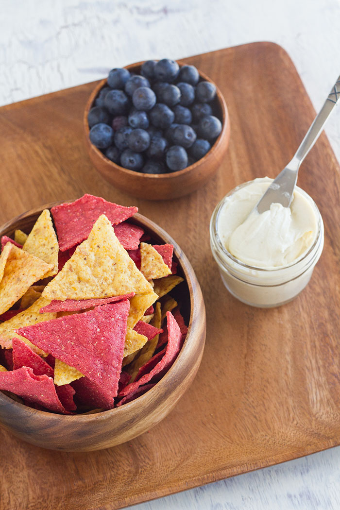 RW Garcia Tortilla Chips with Cashew Cream Cheese and blueberries