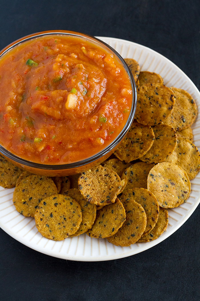 Harvest Salsa with Sweet Potato Crackers