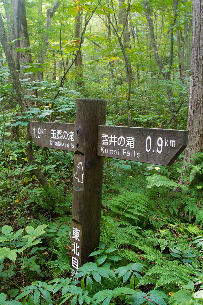 Sign along Oirase Gorge hiking trail