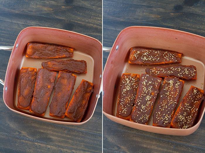 Finishing Miso Glazed Carrots