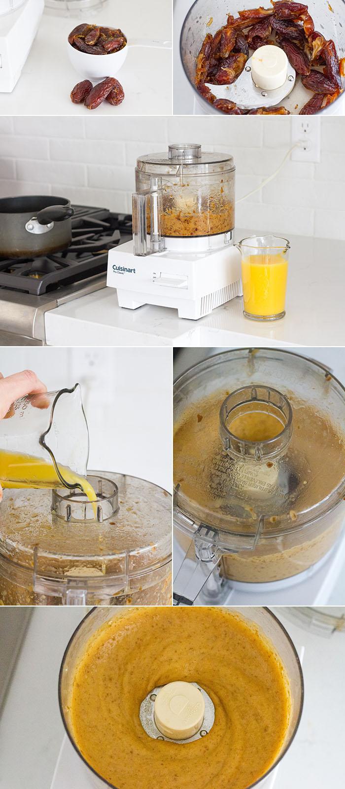 Making orange date paste