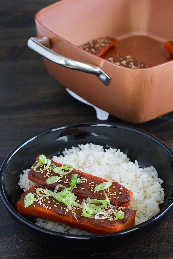 Miso Glazed Carrots with Rice