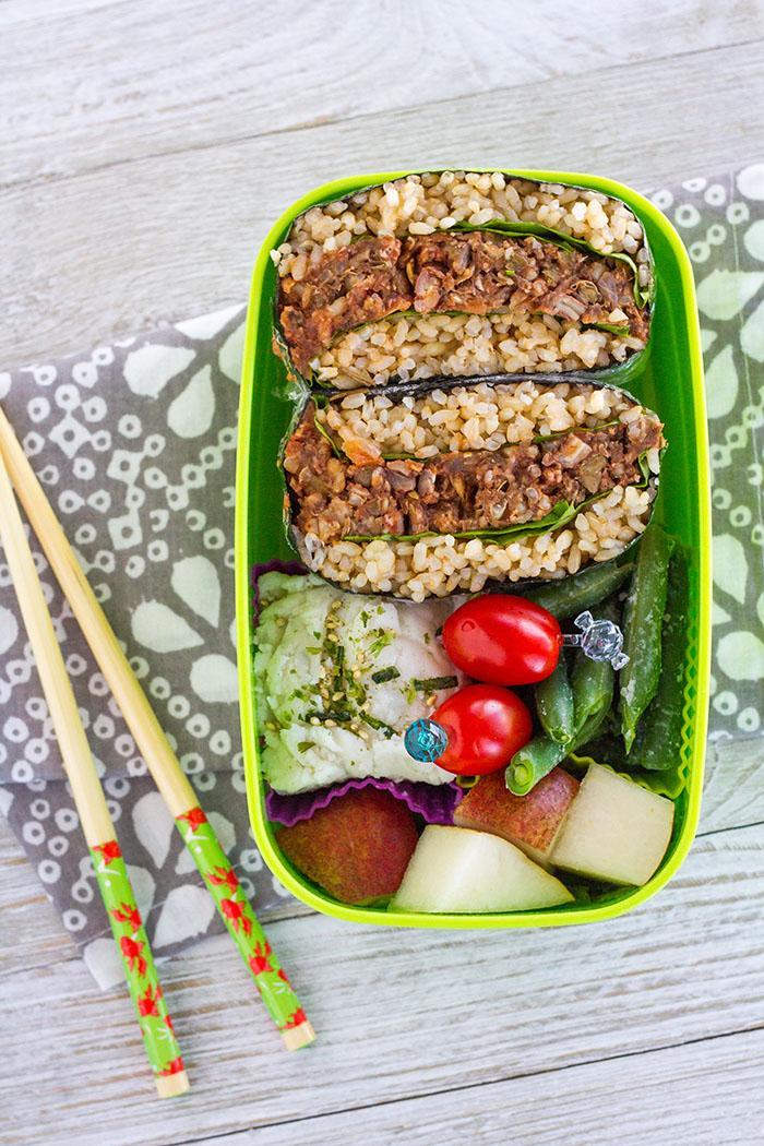 Leftover Lentil Loaf Onigirazu Bento