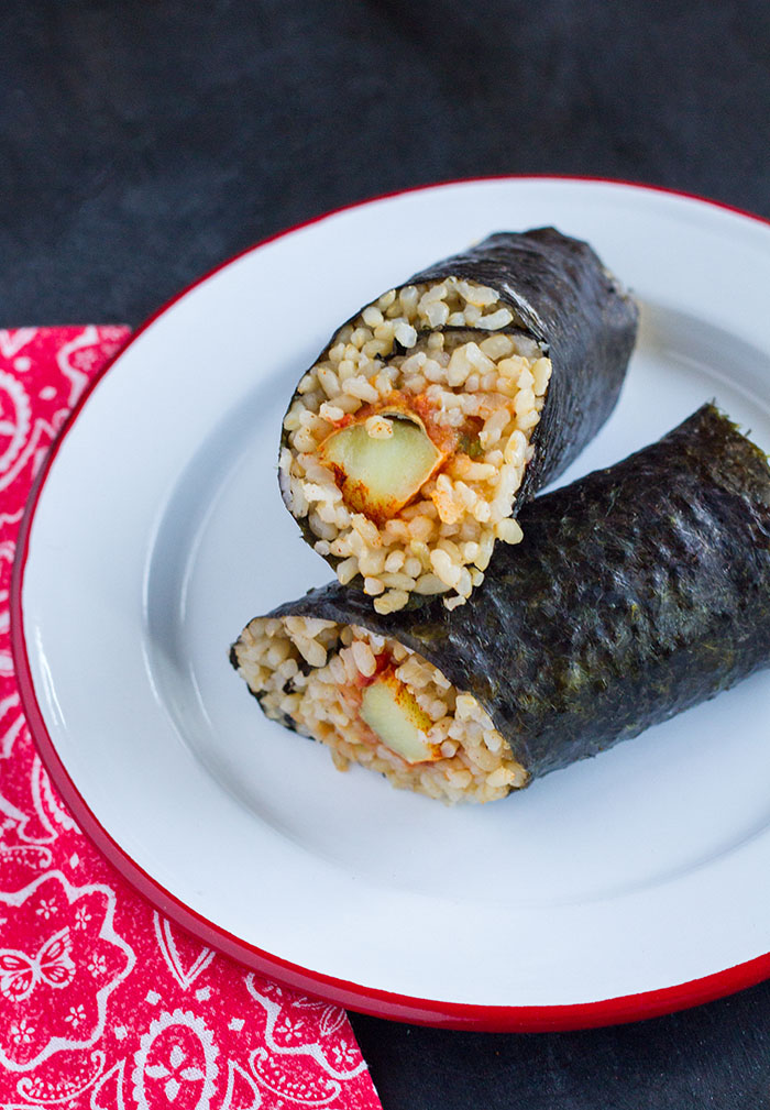 Roasted Sweet Potato Onigiri Burrito