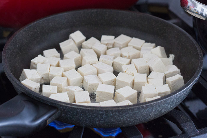 Making hoisin glazed tofu