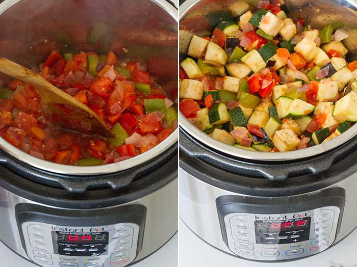 Making ratatouille in the Instant Pot