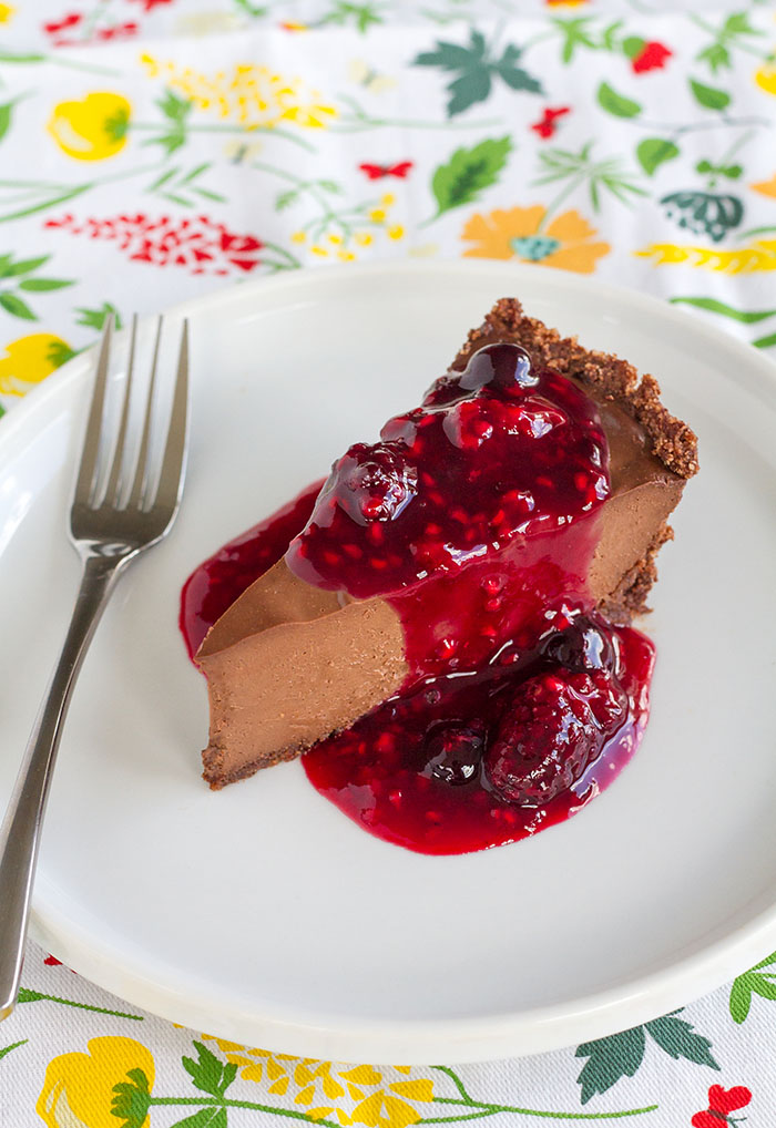 Chocolate Truffle Pie with Triple Berry Sauce