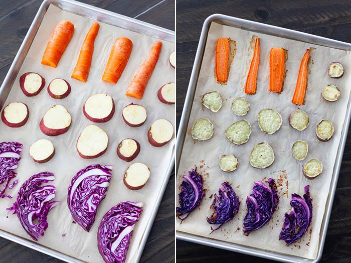 Roasted root vegetables for ramen