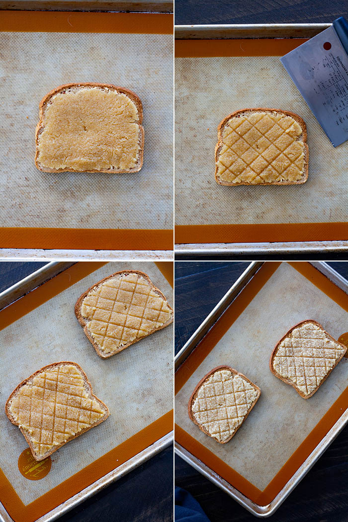 Making Melon Pan Toast