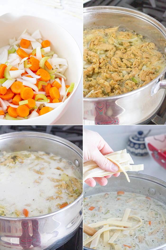 Making Fuji Vegan Chicken Noodle Soup