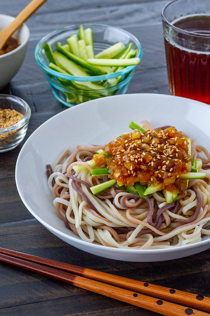Hiyashi Miso Udon Chilled Udon Noodles With Miso Sauce La Fuji Mama