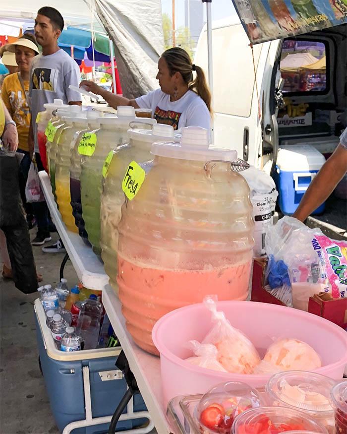 Vendor selling agua fresca
