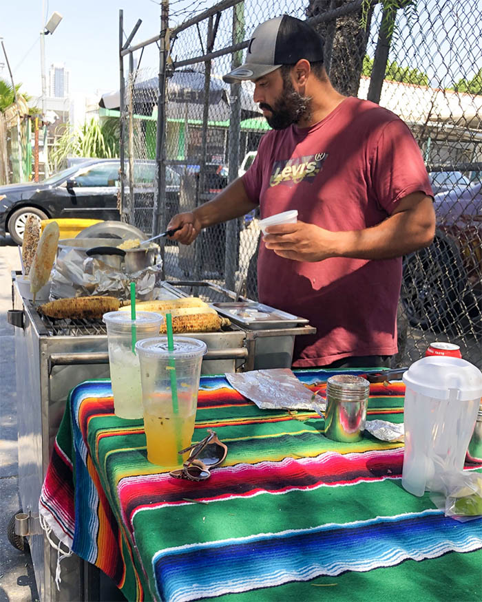Vendor selling elote and esquites