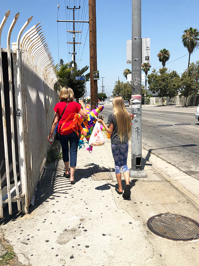 Walking to the car from the Pinata District in Los Angeles, California