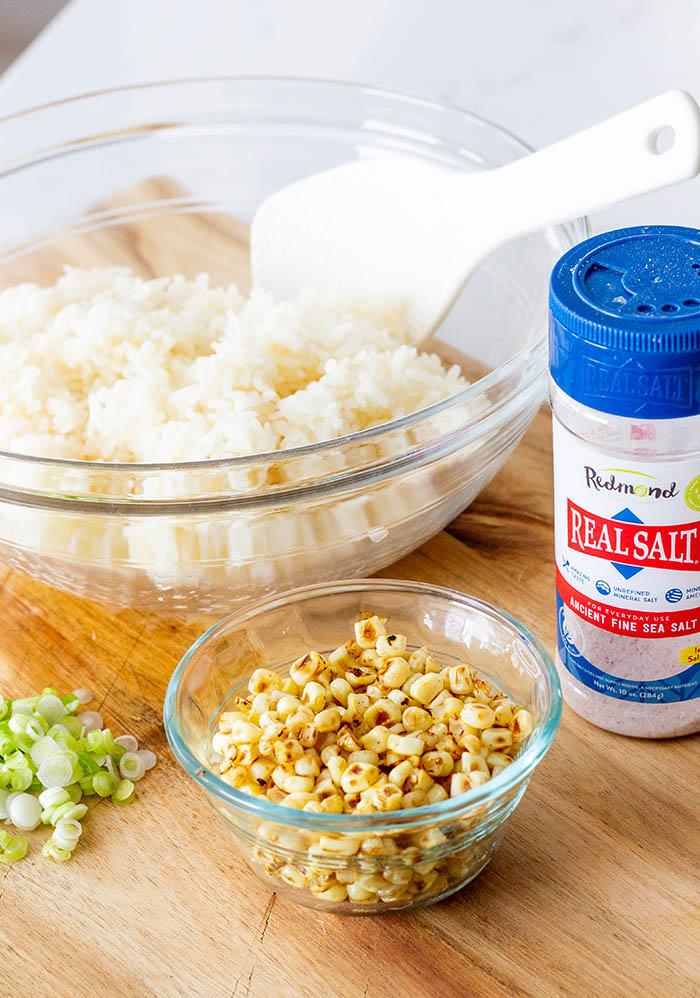 Ingredients for Charred Corn Onigiri