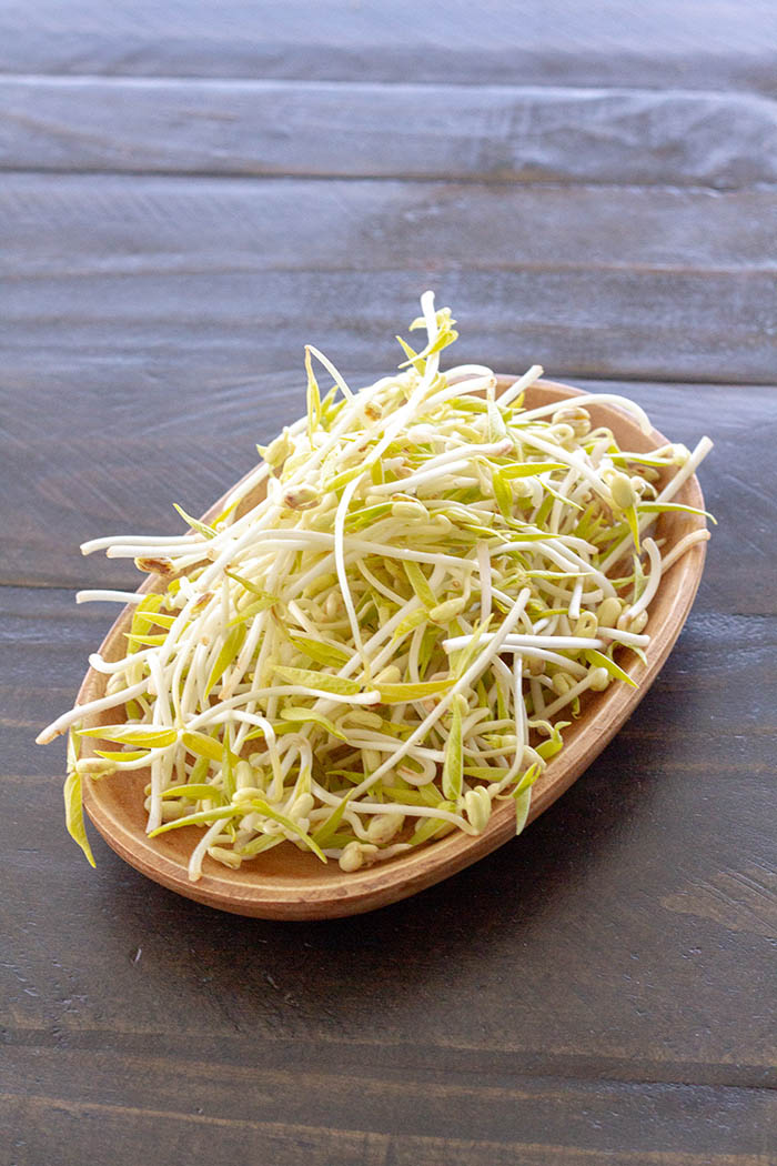 A dish of homegrown mung bean sprouts