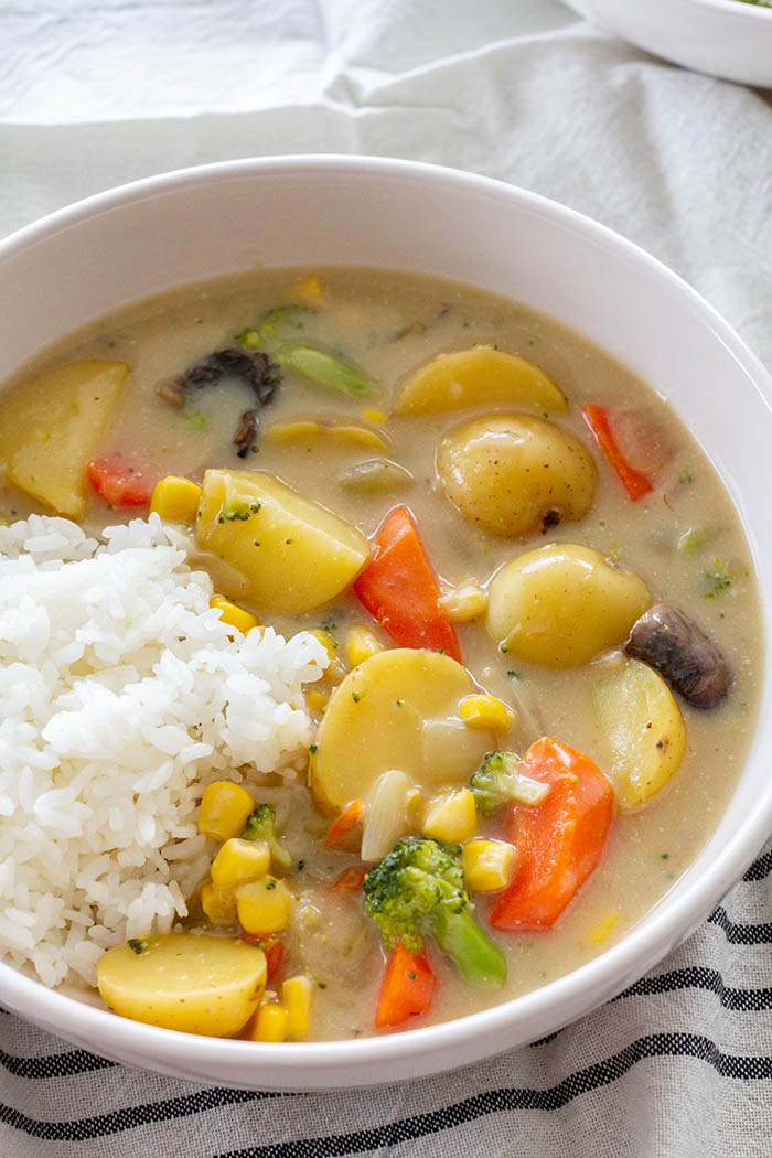 bowl of vegan Japanese cream stew with rice