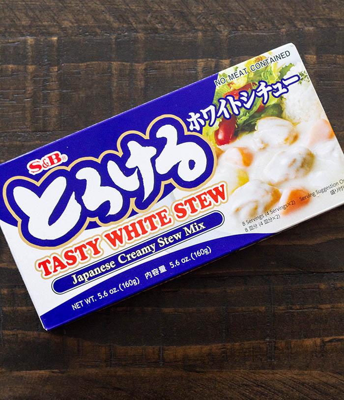 Box of S&B brand Japanese creamy white stew mix