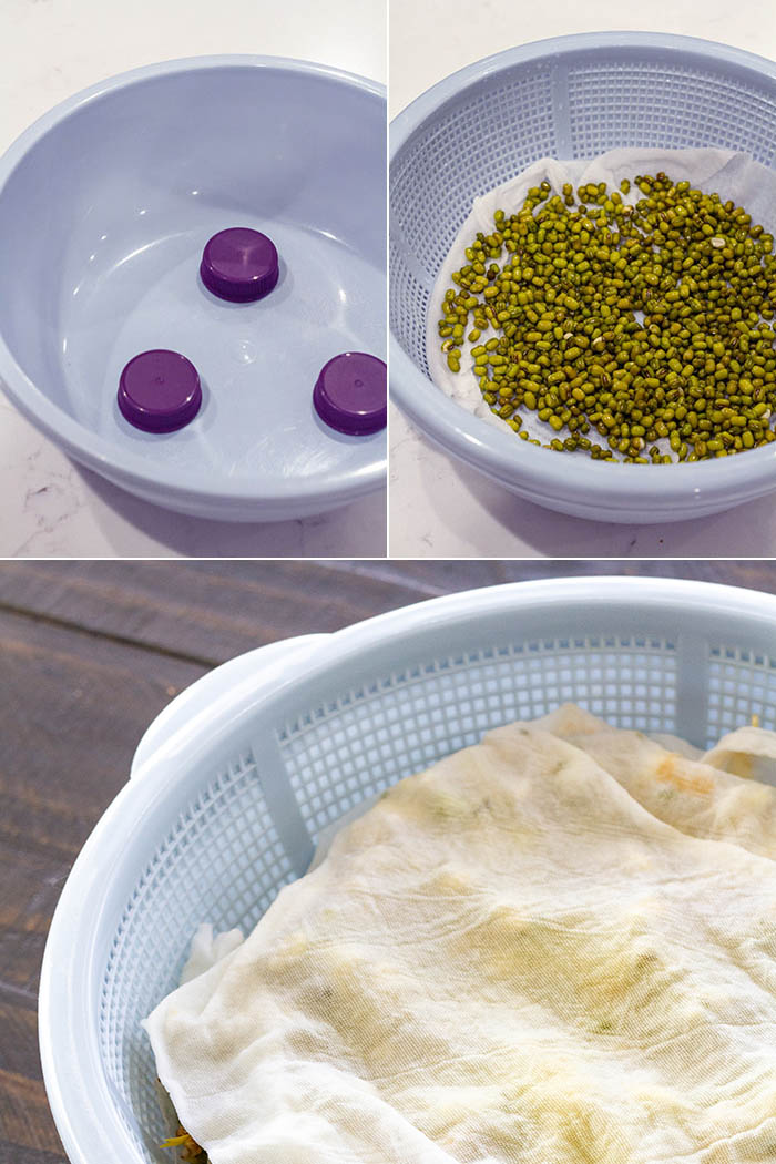 strainer lined with cloth and set in bowl for draining to grow mung bean sprouts